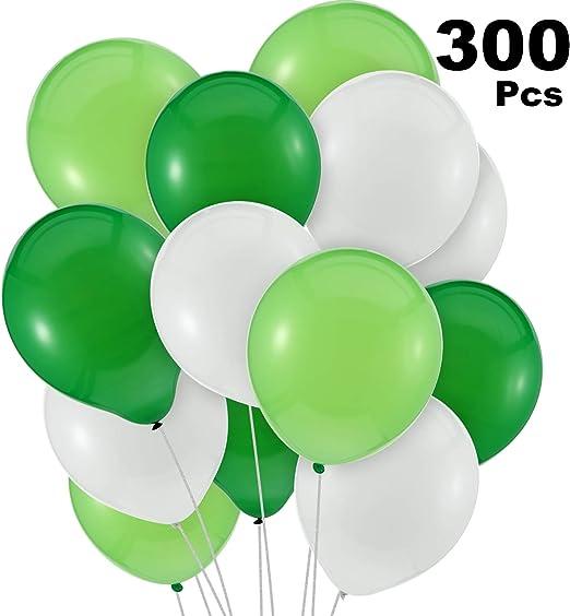 Amazon.com: 300 globos verdes y globos blancos verdes, verde ...