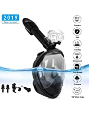 HOBFU Snorkel Mask 2018 Newest Diving Masks with 180°Wide View and GoPro Mount Easy Breathe Design Anti-fog and Anti-leak Technology with Earplugs for Adults (L/XL)