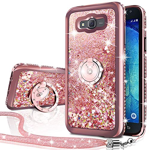 Galaxy Grand Prime Case, Galaxy J2 Prime Case, Silverback Moving Liquid Holographic Glitter Case with Ring Stand, Bling Diamond Rhinestone Bumper Slim Samsung G530 Case for Girls Women -RD