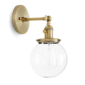 Permo Vintage Industrial Wall Sconce Lighting Fixture With Mini 5.9u0026quot;  Round Clear Glass Globe Hand