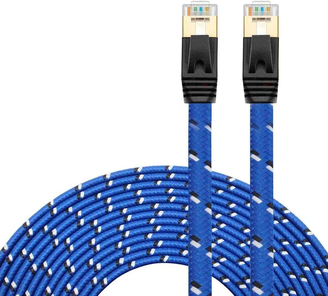Nylon Cat 7 Ethernet Cable 15Ft, Tanbin Cat7 RJ45 Network Patch Cable Flat 10 Gigabit 600Mhz LAN Wire Cable Cord Shielded for Modem, Router, PC, Mac, Laptop, PS2, PS3, PS4, Xbox 360 Blue