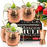 Moscow Mule Copper Mugs - Set of 4 - 100% HANDCRAFTED - Food Safe Pure Solid Copper Mugs - 16 oz Gift Set with BONUS