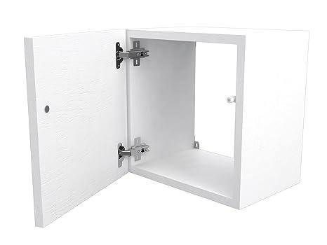 Legno Bianco Frassinato : Ve.ca italy cubi in legno 35x35 cm con sportello e ripiano in vetro