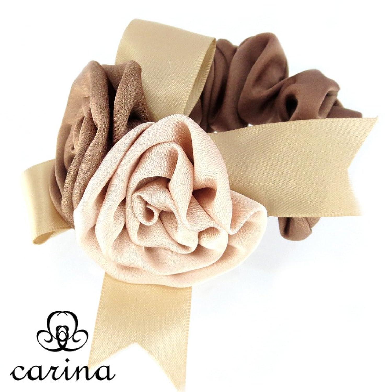 carina ローズシュシュ。薔薇とリボンのモチーフが高級感あふれるシュシュ。