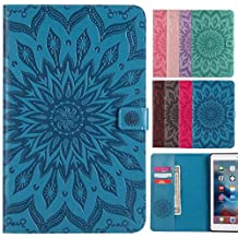 LEMORRY Apple iPad mini 4 Case Leather Flip Wallet Pouch Slim Fit Bumper Protection Magnetic Strap Stand Card-Slot Soft TPU Tablet PC Holster Cover for Apple iPad mini4, Blossom (Blue)