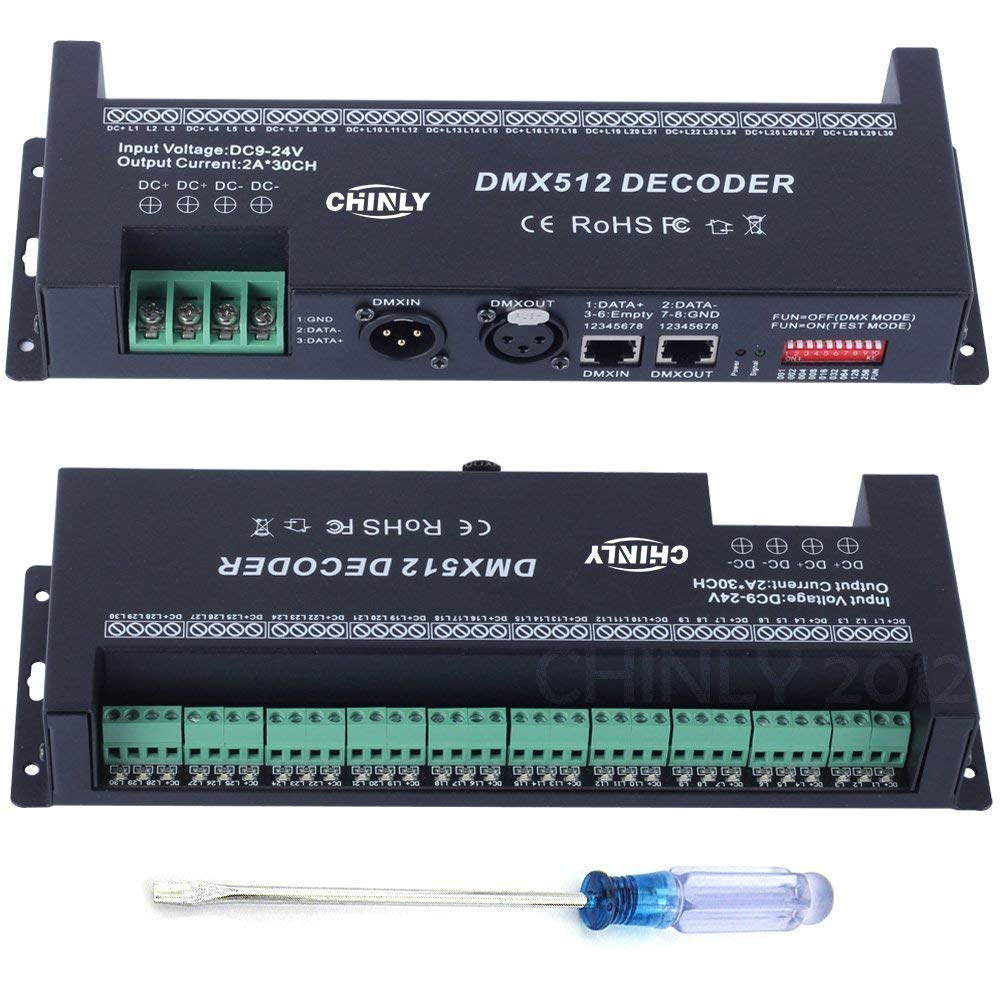 30 channel DMX decoder 512 RGB LED strip controller dmx dimmer DC9V-24V 2A/CH