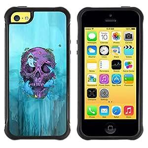 "Pulsar iFace Series Tpu silicona Carcasa Funda Case para Apple iPhone 5C , Motorista Cráneo de la pintada de la Muerte Profundo Roca"""