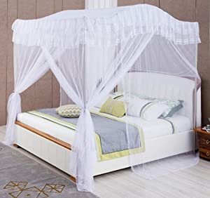 Mengersi Arched 4 Corners Post Bed Curtain Canopy Net Square Princess Fly Screen, Indoor Outdoor (Twin, White)