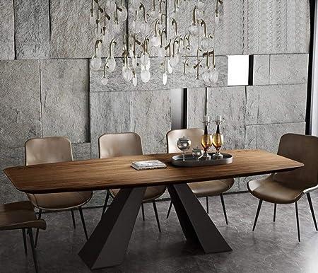 LGFSG Conjunto de Mesa Juego de Comedor de Acero Inoxidable Muebles para el hogar Mesa de Comedor de Madera Moderna Minimalista y 8 sillas, marrón: Amazon.es: Hogar