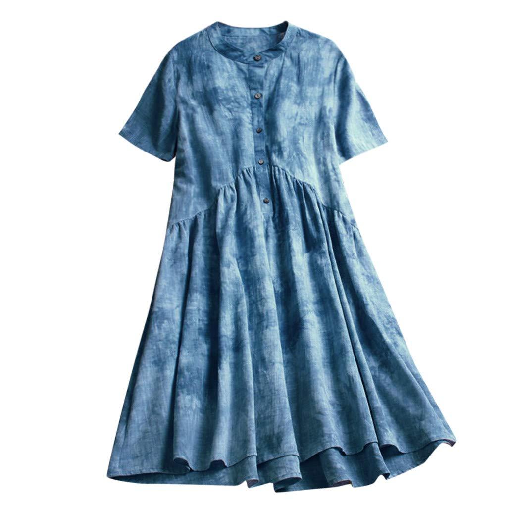 Maxi Princess Dress Women,Mosunx Clothing Sleeveless Printed Round Neck A Line Ankle Length Tunic Dresses (Large, Blue)