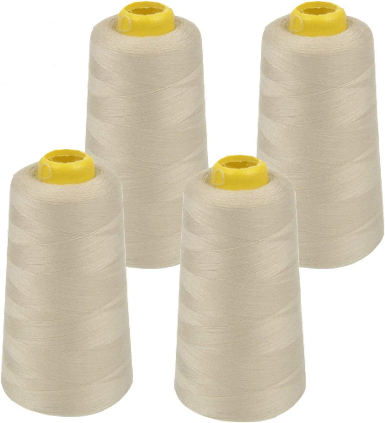 4 PACK of 6000 Yard Spools White Sewing Thread All Purpose 100/% Spun Polyester