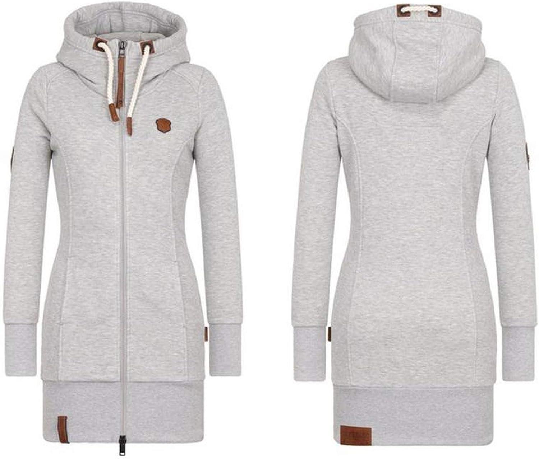 Casual Long Hoodies Womens Sweatshirt Thick Coat Pockets Zipper Outerwear Plus Size Tops,Dark Gray,XXXL,China
