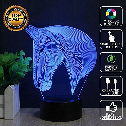 Horse Table Lamps, YKL World Night Light for Kids, 3D Optical Illusions Lights, 7 Adjustable Colors Beside Mood Lamp Bedroom Decor Nursery Gifts Toys for Horse Lovers Girls