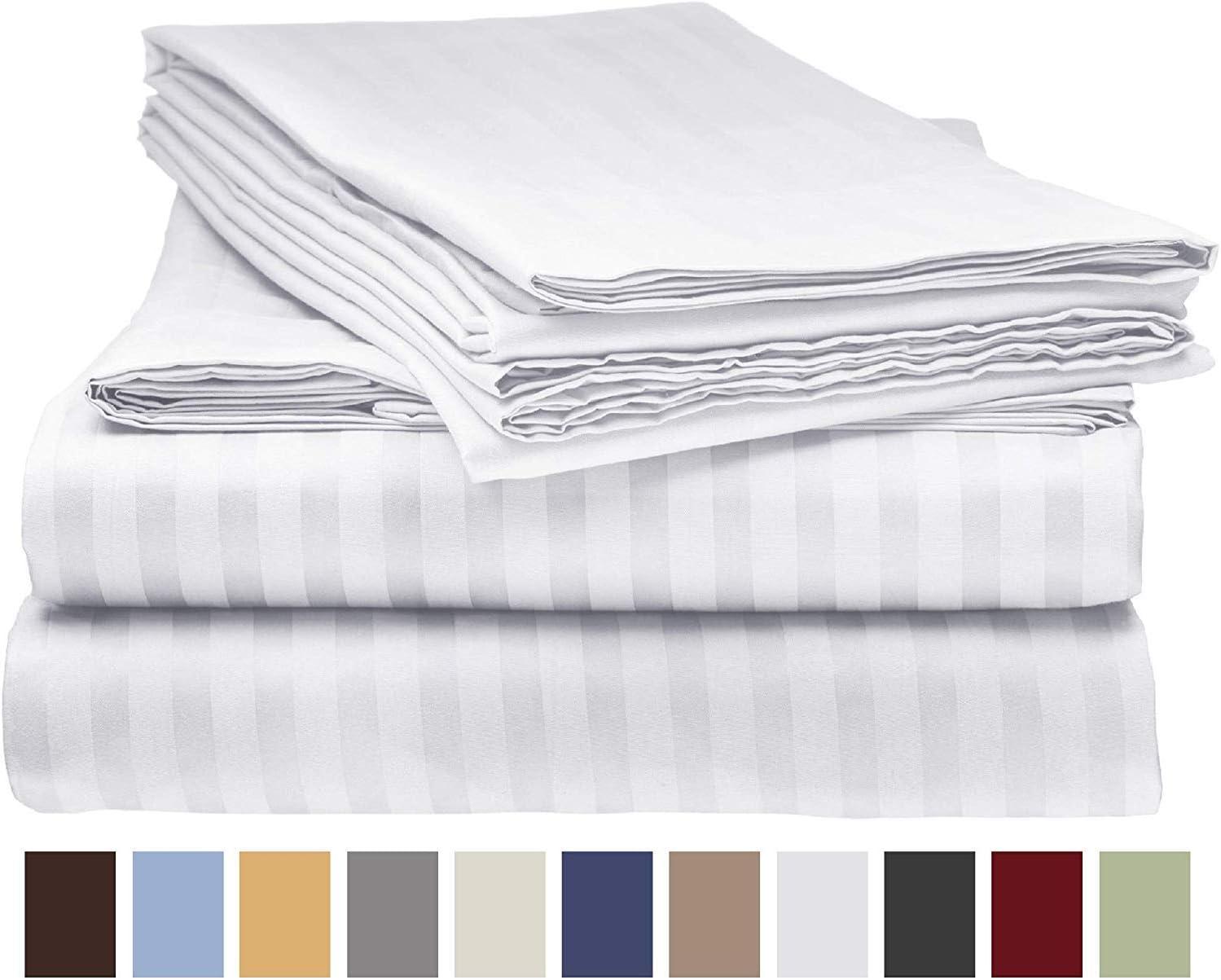 5-Piece 800-Thread-Count 100% Cotton Sheet White Stripe Split King-Sheets Set, Long-Staple Cotton Best-Bedding Sheets for Bed, Soft & Silky Sateen Weave Fits Mattress Upto 12'' Deep Pocket