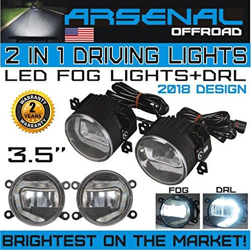 2-1 LED Fog Light+ DRL New 2018 Design for Jeep Wrangler 97-15 JK TJ LJ Off Road Fog Lamps