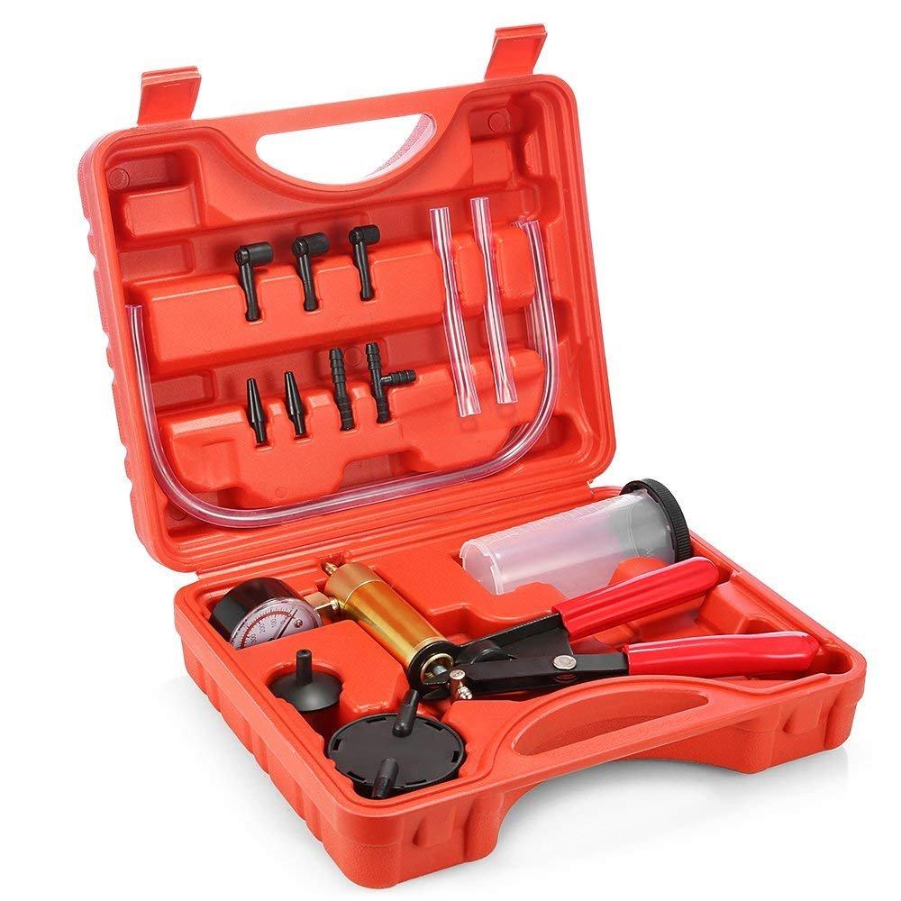 PAVLIT pompa a vuoto tester set, pompa a vuoto spurgo freno & test Tuner kit di attrezzi per Automotive con adattatori e custodia