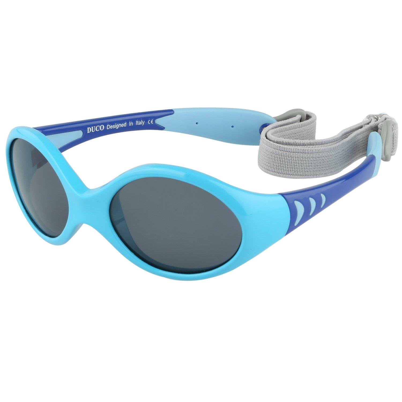 DUCO Kinder Sonnenbrille Polarisierte Sportbrille TPEE Flexibeles Gestell für Baby Mädchen oder Junge 0-24 Monate K012 SHK012-Blau