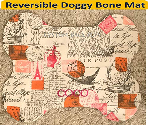 REVERSIBLE Doggy Bone Bowl Pet Mat with Single Name on Both Sides in Amore Sherbet and Candy Pink Madison