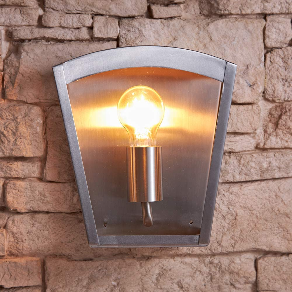 IP44 Rated Security Light Ideal for Porch Pathways Driveway Jarbo 60W E27 Single Wall Light with Fixing Kit Included Energy Rating A++ Biard Outdoor Stainless Steel Wall Light Patio /& Garden