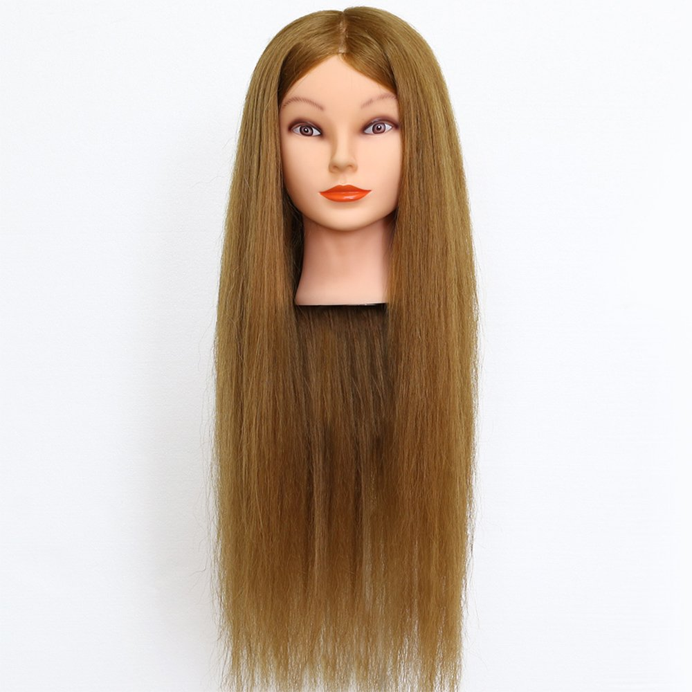 Neverland Beauty & Health: cabeza de maniquí con pelo natural (90%) rubio de 26 pulgadas (66 cm) de longitud, para prácticas de peluquería