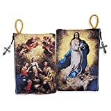 Religious Gift the Immaculate Conception & Holy Family Cloth Tapestry Rosary Zipper Close Pouch Keepsake Holder