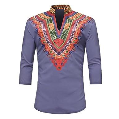 b62d260d212 Amazon.com  Mens 3 4 Sleeve Tribal Totem Print Traditional African Clothing  Dashiki T Shirts  Clothing