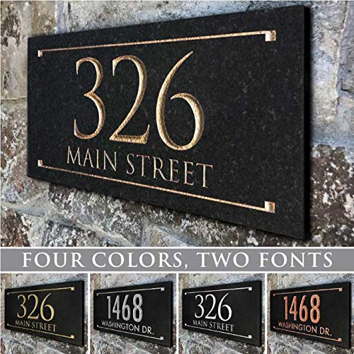 Stone Address Plaque with Engraved Numbers. Address Sign Made from Solid, Real Stone