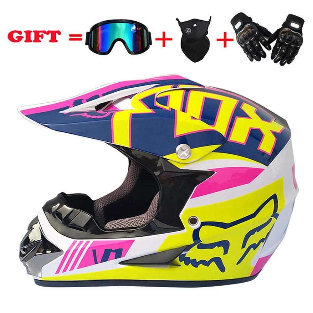 Adultsufer, Helm für Motorrad-ATV Cross-Country, Verteilerbrille Cross-Country-Handschuhe und Maske (S M L XL),L