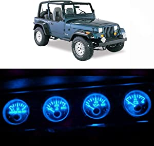 WLJH Bright Ice Blue Instrument Panel Gauge Cluster Speedometer Tachometer Indicator Bulb Full Led Light Kits Package Replacement for Jeep Wrangler 1992-1995