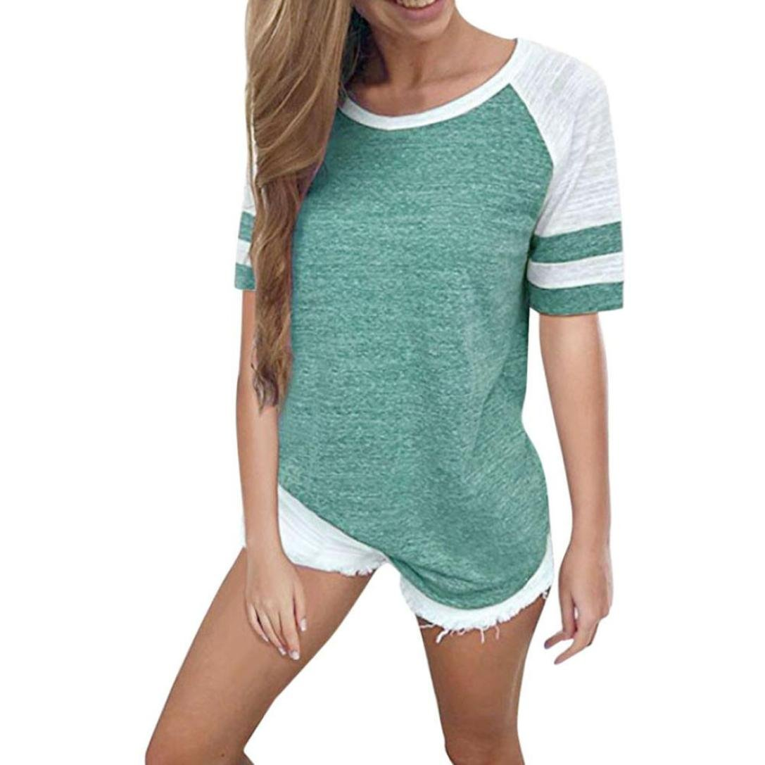 Mose Selling! ! ! Plus Size Summer T-Shirt Fashion Women Ladies Short Sleeve Splice Blouse Tops Clothes T Shirt (Green, 3XL)