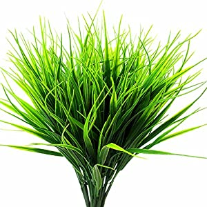 Artificial Outdoor Plants Faux Plastic Wheat Grass Fake Leaves Shrubs Greenery Bushes Indoor Outside Home Garden Office Wedding Party Decor UV Resistant 4