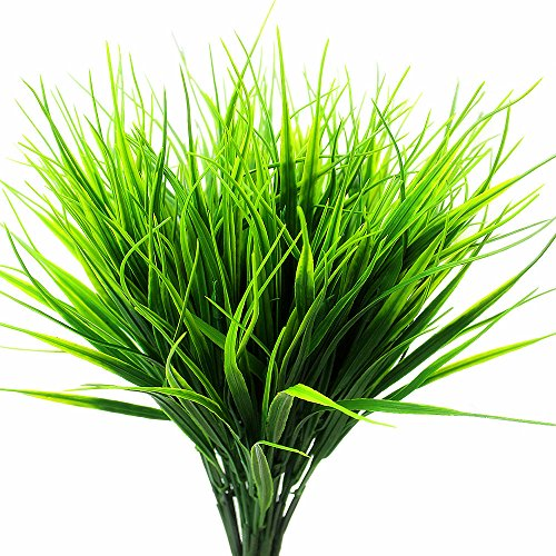 (ZMOCEN 4 Pcs Artificial Outdoor Plants Faux Plastic Wheat Grass Fake Leaves Shrubs Greenery Bushes Indoor Outside Home Garden Office Wedding Party Decor UV)