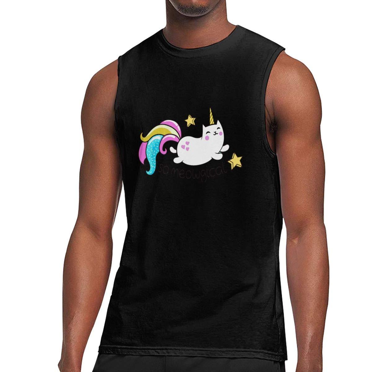 Seuriamin So Meowgical Cute Unicorn Kitty Classic Sports Sleeveless Muscle Short Sleeve Ts