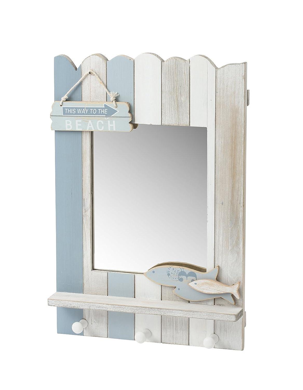 Annibells Wooden Nautical Beach Mirror With 3 Hooks Coat Towel Rack Bathroom Giftworks