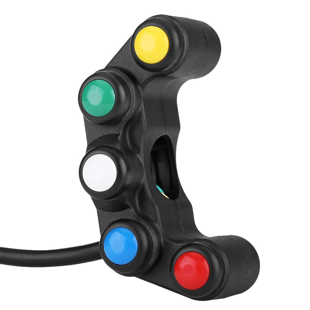 Universal 22mm 5 In 1 Motorcycle Handlebar Headlight Hazard Brake Fog Light Horn On//Off Switch Keenso