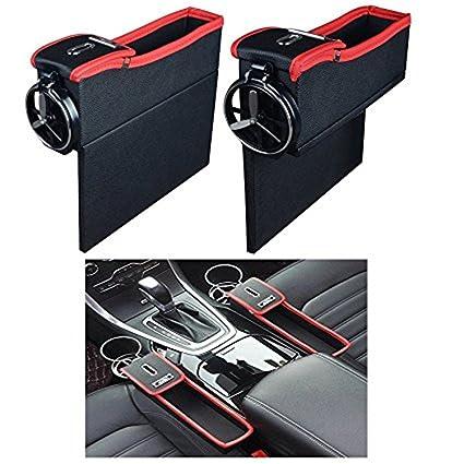 EKYAOMEI 2PCS PU Leather Side Pocket Organizer Car Seat Crevice Storage Box Space Gap Filler Drink