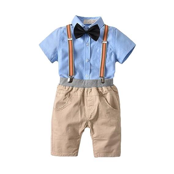 JEELINBORE Conjuntos de Ropa para Bebés Niño Camisa del Caballero + Pantalones Cortos + Tirantes + Bowtie 4Pcs Traje de Boda Smoking Bautizo