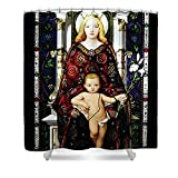 Pixels Shower Curtain (74'' x 71'') ''Stained Glass Of Virgin Mary''