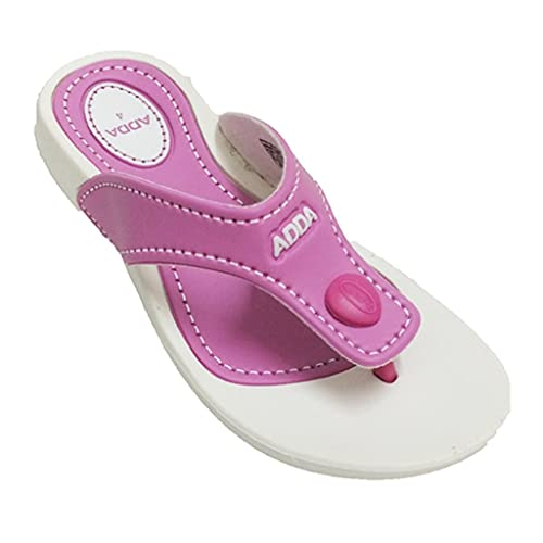 Adda Women's White Pink synthetic house slippers <span at amazon
