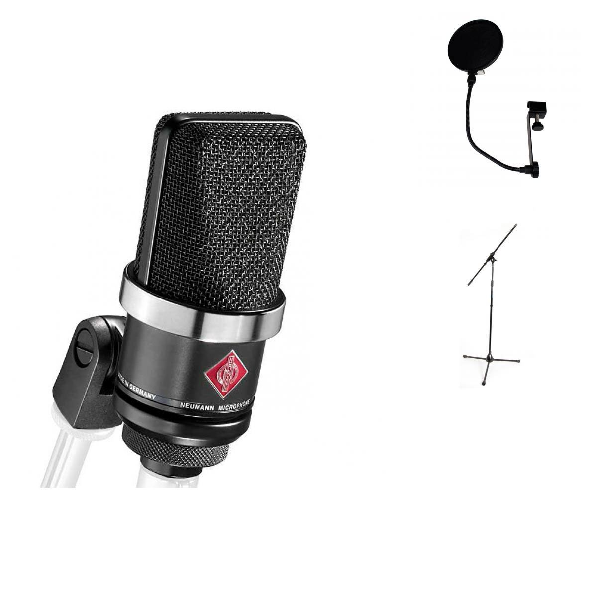 Neumann Pack Tlm 102 Black Mic Stand Anti Pop Electronic Integrated Circuits Popscreen Musical Instruments