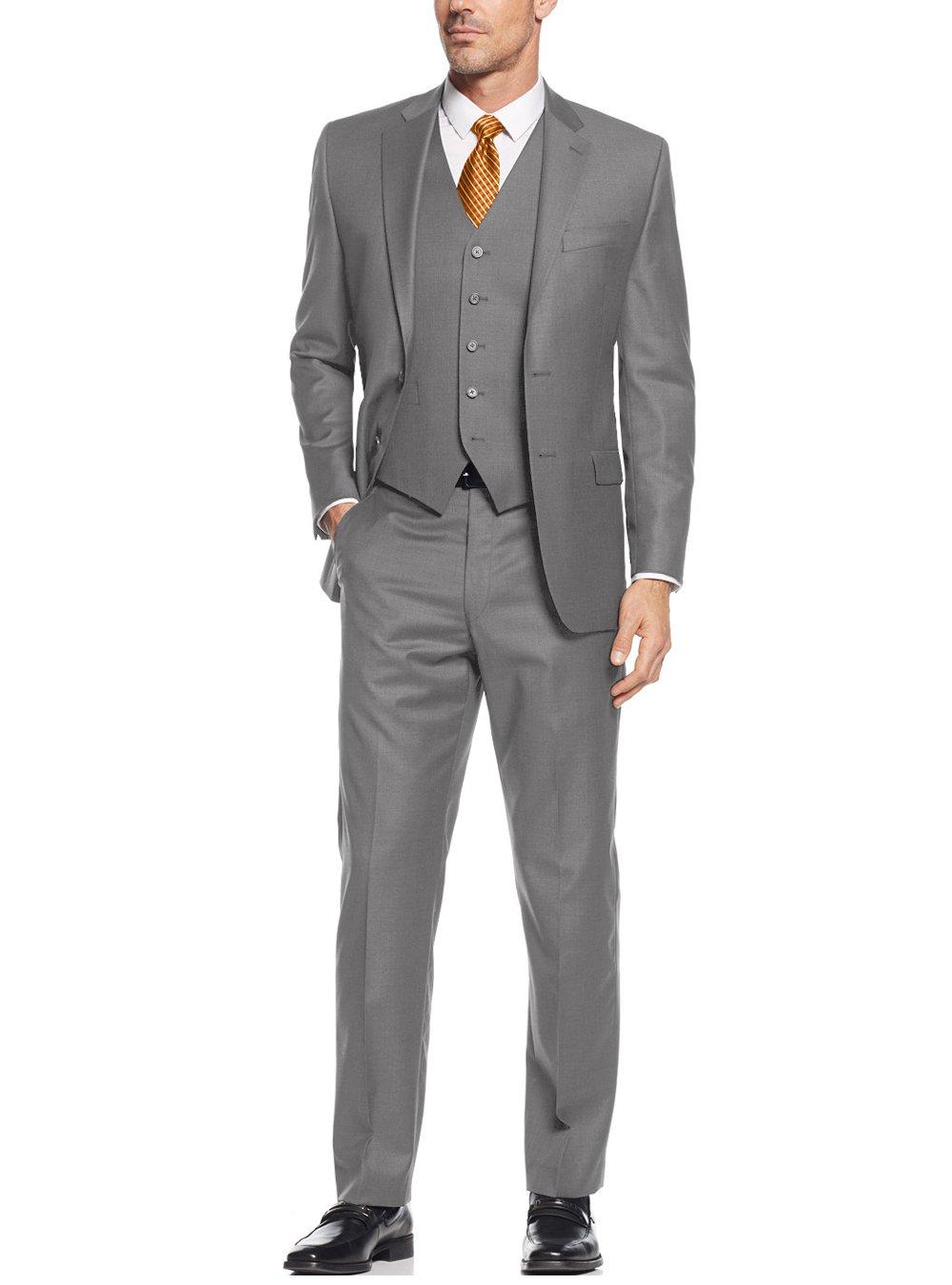 Salvatore Exte Mens Suit Vested Three Piece Blazer Jacket Dress Vest Plus Pants (44 Regular US / 54R EU/W 38'', Gray)