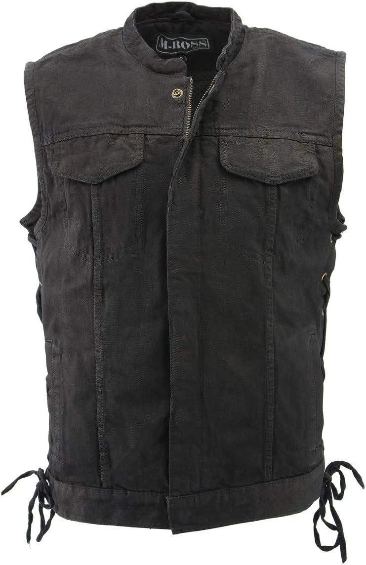 M Boss Motorcycle Apparel BOS13002 Men's Black Denim Club Style Side Lace Vest with Hidden Zipper - 3X-Large