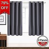 TEKAMON Blackout Curtains Thermal Insulated Grommet Draperies Room darkening Panels for Living room, Bedroom, Nursery by (W52 X L63, 2 Panels, Dark Gray)