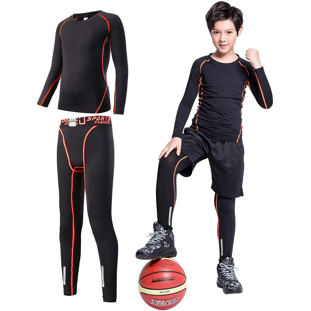 2//3//4 Pcs Boys Base Layer Thermal Underwear Set Compression Leggings Pants Shirts