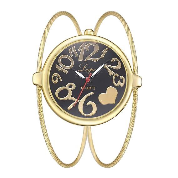 Relojes Pulsera Esfera Grande Escala del Numeral Árabe Relojes Mujer Pulsera de Cadena de Acero Inoxidable Interesante Moda, Dorado-Negro: Amazon.es: ...