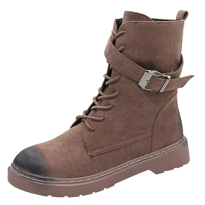 Mymyguoe Zapatos de Invierno Mujer Botines Cortos con Cordones Moto Zapatos Militares Movimiento Black Friday Botas Hebilla Correa Zapatos Tacon bajo Fondo ...