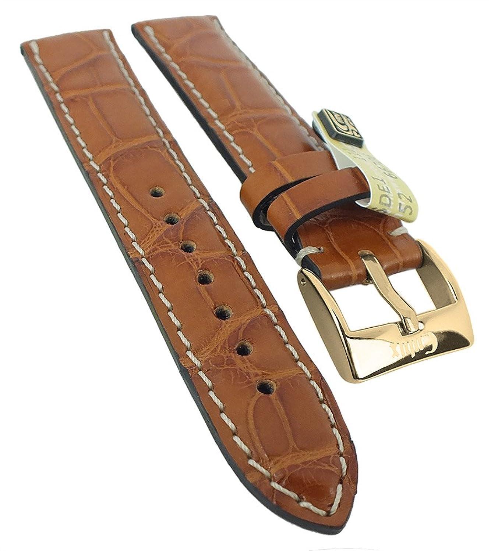 Alligator Highline Ersatzband Uhrenarmband 18mm - 22mm | Alligator-Leder hellbraun - seidenglÄnzend 30395 - Stegbreite