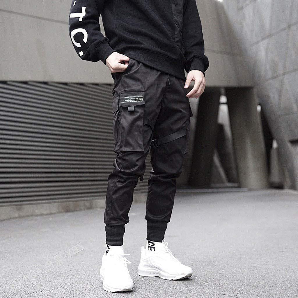 Pantalones Hombre Chandal Pantalon Deporte Hombre Retro Color S/ólido Multi-Bolsillo Largo Pants Ropa Hombre Invierno