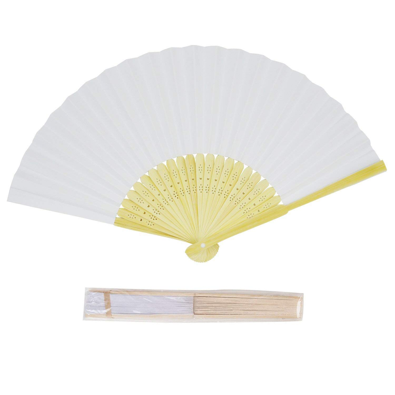 CHU KE (50packs Bamboo Folding Fan Handheld Fans Paper Folded Fan for Wedding Party and Home Decoration (White) by CHU KE