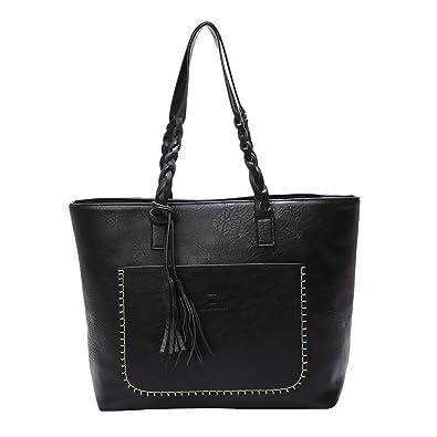 67afcd8d78 Ss-Lqlhy Large Capacity Women Faux Leather Handbag Fashion Tote Shoulder Bag  Gift Black